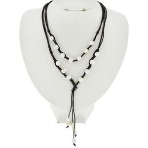 Brown Cord Ivory Pearl Lariet Tassel Necklace